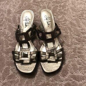 Life Stride gold sandals